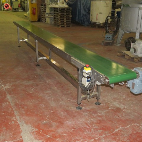 R4FB1183 Convoyeur à bande PRIMAPLAST en inox -  largeur 400 mm - Longueur 6230 mm