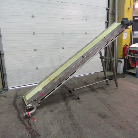 R4FB1187 Stainless steel belt elevator conveyor - Width 400mm - Length 3300mm