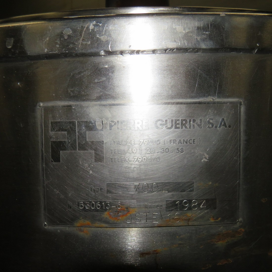 R6MA6139 Stainless steel PIERRE GUERIN mixing tank capacity 700 litres