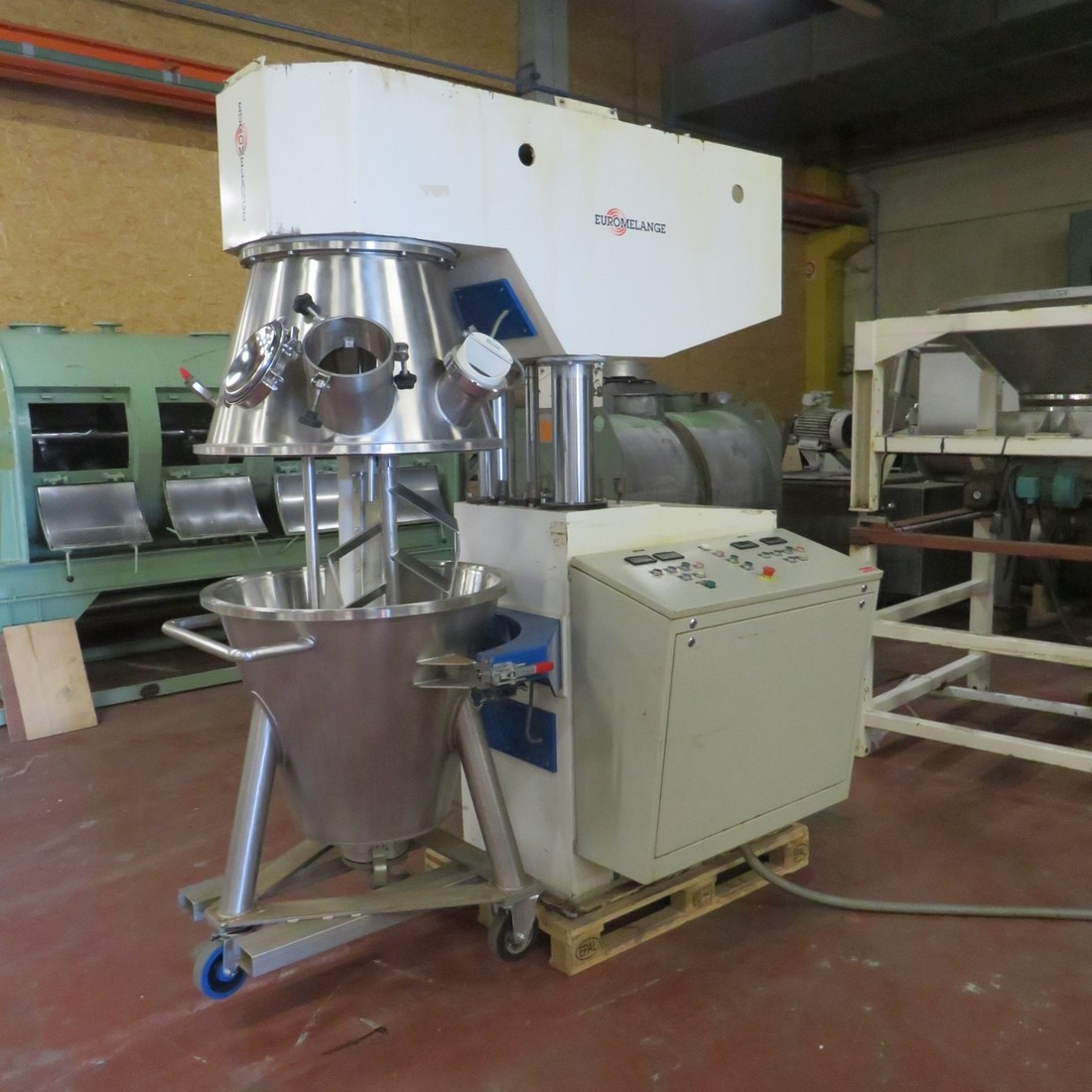 R6MP114  steel planetary mixer EUROMELANGE 200 l tank Ø 810/450 height 700 mm